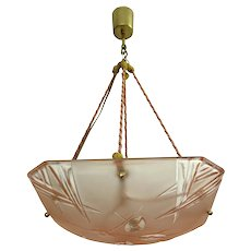 Pink Square Art Deco Glass Chandelier By Degue From France 1930s