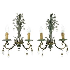 Large Pair Of Mid Century Pineapple Sconces Wall Lamps Maison Bagues 1950