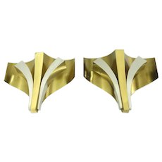 Signed Pair Of Modernist Mid Century Sconces Wall Lamps By Maison Baguès 1960s