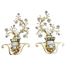 Iconic Pair Of Art Deco Style Sconces With Crystal Birds By Banci Firenze