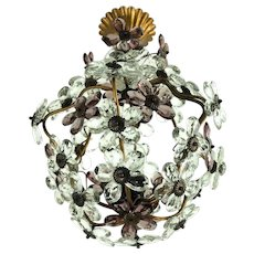 Hollywood Regency Vintage Glass Flower Chandelier Pendant Banci Firenze (attr.)