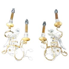 Iconic Pair Of Hollywood Regency Glass Parrot Sconces Wall Lamps Banci Bagues