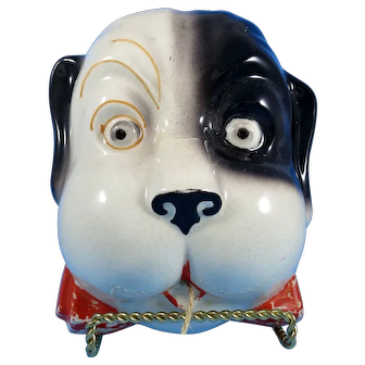Dog with Bow ceramic String Holder