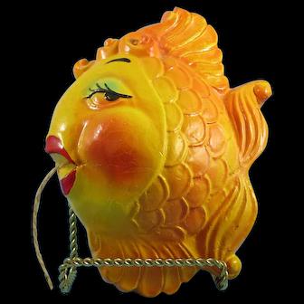 Gold Fish Chalkware String Holder