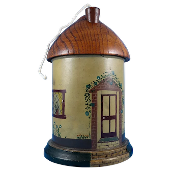 Hand Painted Country Cottage String Holder