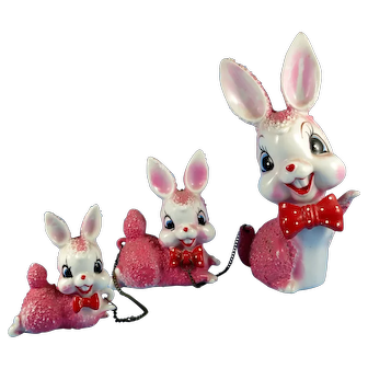 Porcelain Rabbit Family Figurine