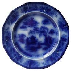 P & W Flow Blue Manila Plate Podmore Walker & Co from 1850s