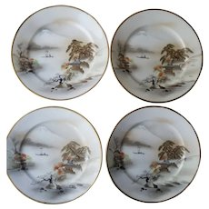Japanese Set of 4 Handpainted Plates Mt. Fuji Salad Plates Nippon