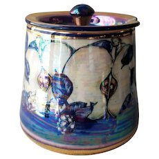 Alvin F Irving Pottery Covered Sugar with Lusterware blackberry pattern