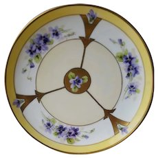 Early 20th Century Hand Painted Haviland Jul H. Brauer Plate with Violets