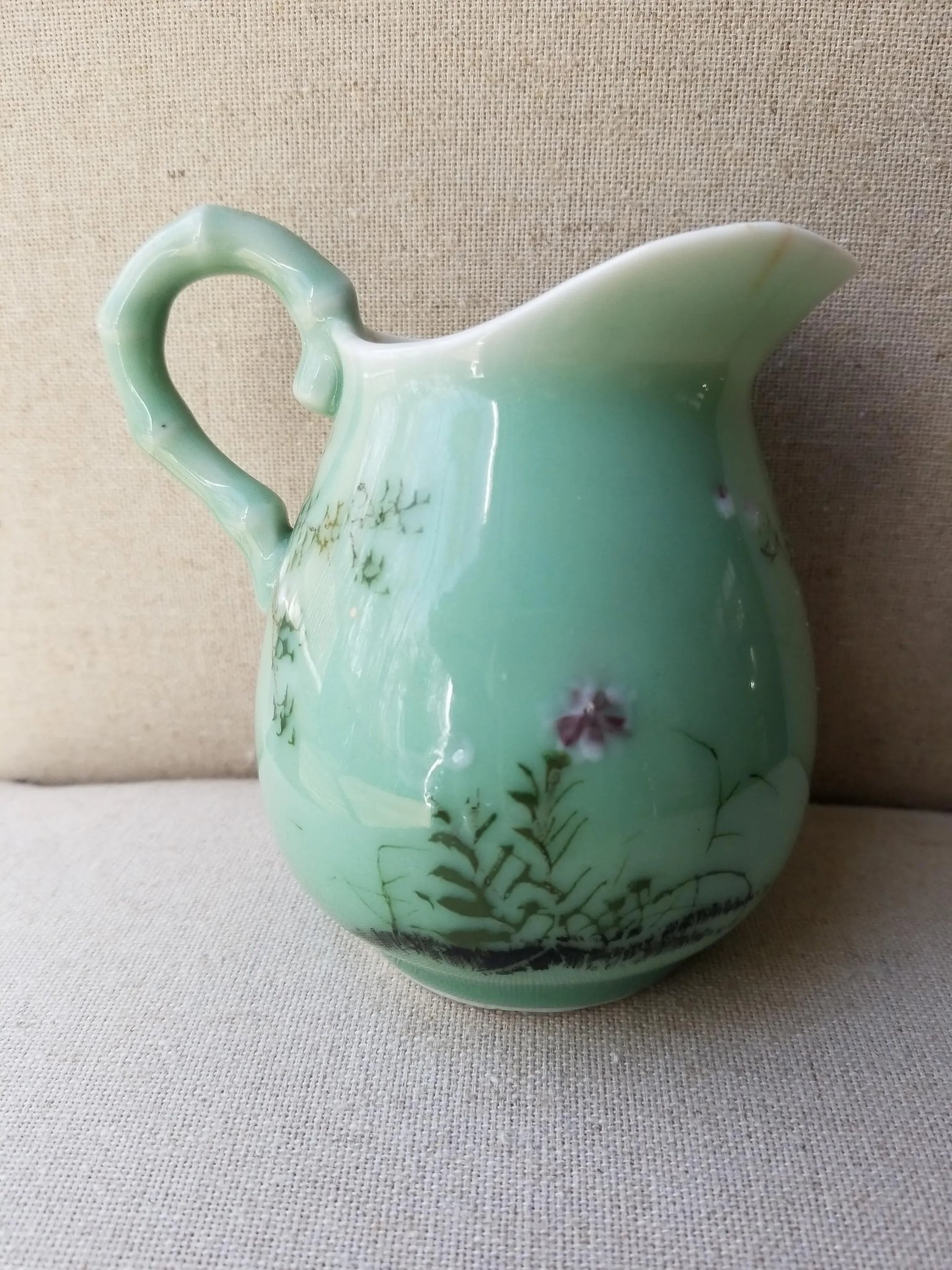 Japanese Celadon Hand Painted Pitcher from Meiji Period ...
