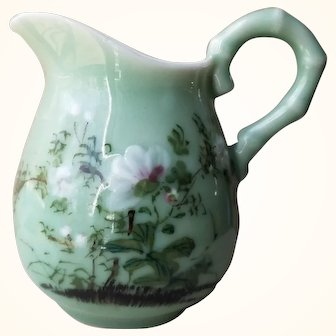 Japanese Celadon Hand Painted Pitcher from Meiji Period