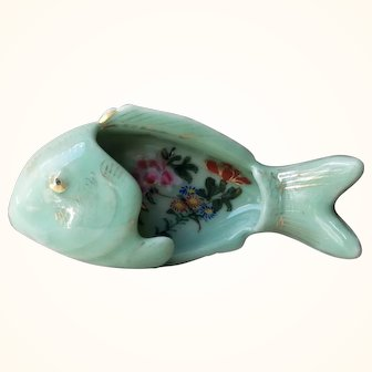 Japanese Celadon Hand Painted Fish Shaped dish from Meiji Period