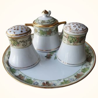 Art Deco Nippon Porcelain Hand Painted Condiment Set  with Tray