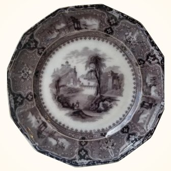 19th Century Viennes cobridge mulberry ironstone plate in black By John Alcock