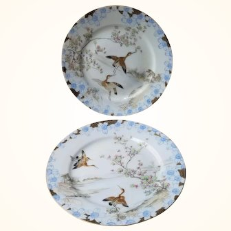 Hand Painted Japanese Art Deco Pair of Plates