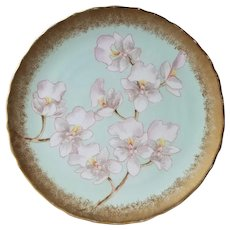 George Jones and Sons Hand Painted Orchid plate from early 20th century