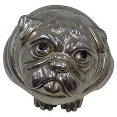Bulldog sculpture in laminated silver