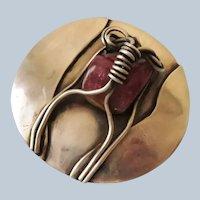 Handmade Sterling and Tourmaline Pin