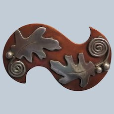 Handmade Copper Pin with Applied Silver Oak Leaves