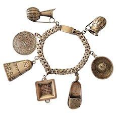 Mexican Sterling Charm Bracelet, Castelan