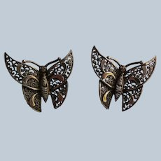 Pair of Alice Caviness Sterling Butterfly Earrings
