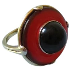Mid-Century Gold, Carnelian and Onyx Ring