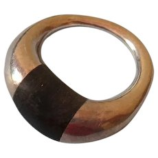 Modernist Silver and Rosewood Ring