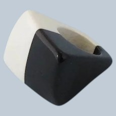 Two-Tone Lucite Ring, 1960s Mod