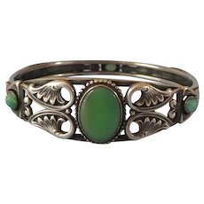 Egyptian-Revival Sterling and Glass Bangle