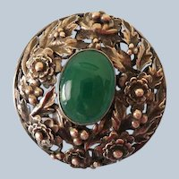 Sterling and Chrysoprase Pin, Late Arts and Crafts