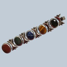 Mexican Sterling Bracelet Set with Agates