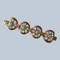 Mexican Gilded Silver and Glass Bracelet