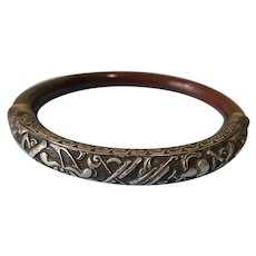 Chinese Bangle of Lacquered Bamboo with Silver Decoration