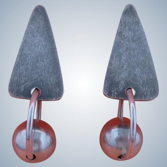 Modernist Silver Earrings, Geometric Design