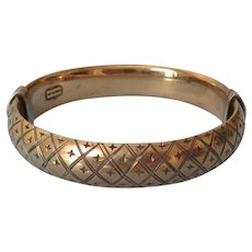 Gilded Engraved Sterling Hinged Bangle