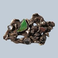 Ella Cone Sterling Brutalist Pin Set with Jade and Crystal