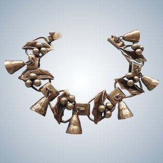 Mexican Sterling Bell and Holly Bracelet