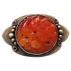 Carved Carnelian and Silver Pin