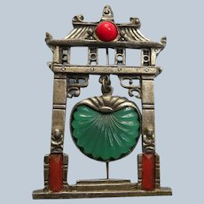 Colorful Art Deco Pagoda Pin