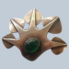 "Sterling Modernist ""Leaf"" Pin with Chrysoprase by Per Sköld"