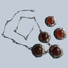 Polish Silver and Amber Necklace and Earrings Suite
