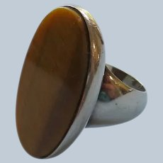 Modernist Sterling Ring with Large Tiger Eye by S'Paliu