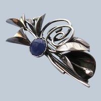 Handmade Sterling and Agate Calla Lily Brooch