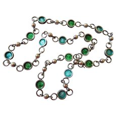 Silver and Guilloche Enamel Chain Necklace