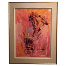 Lady Reading, Signed, Acrylic on Board, Framed