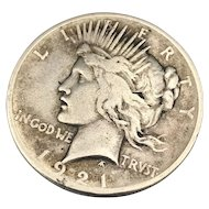 Key Date 1921 Peace Dollar, High Relief