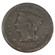 1851 Large Cent, Braided Hair, Fine