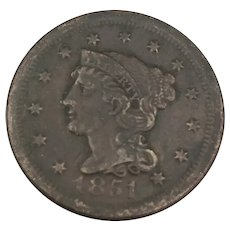 1851 Large Cent, Braided Hair, Fine