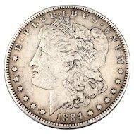 1884 Morgan Silver Dollar, 90% Silver, Very Fine